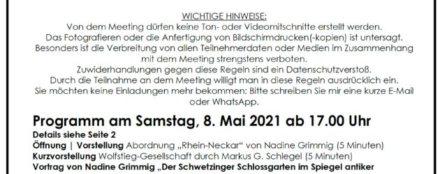 EINLADUNG zum regionalen Kolloquium -ONLINE- für Gäste und Partner Sehr geehrte Damen und Herren, mit Freude lade ich Sie zu einem Zoom-Meeting der Abordnung Rhein-Neckar der https://wolfstieg-gesellschaft.org/ ein.